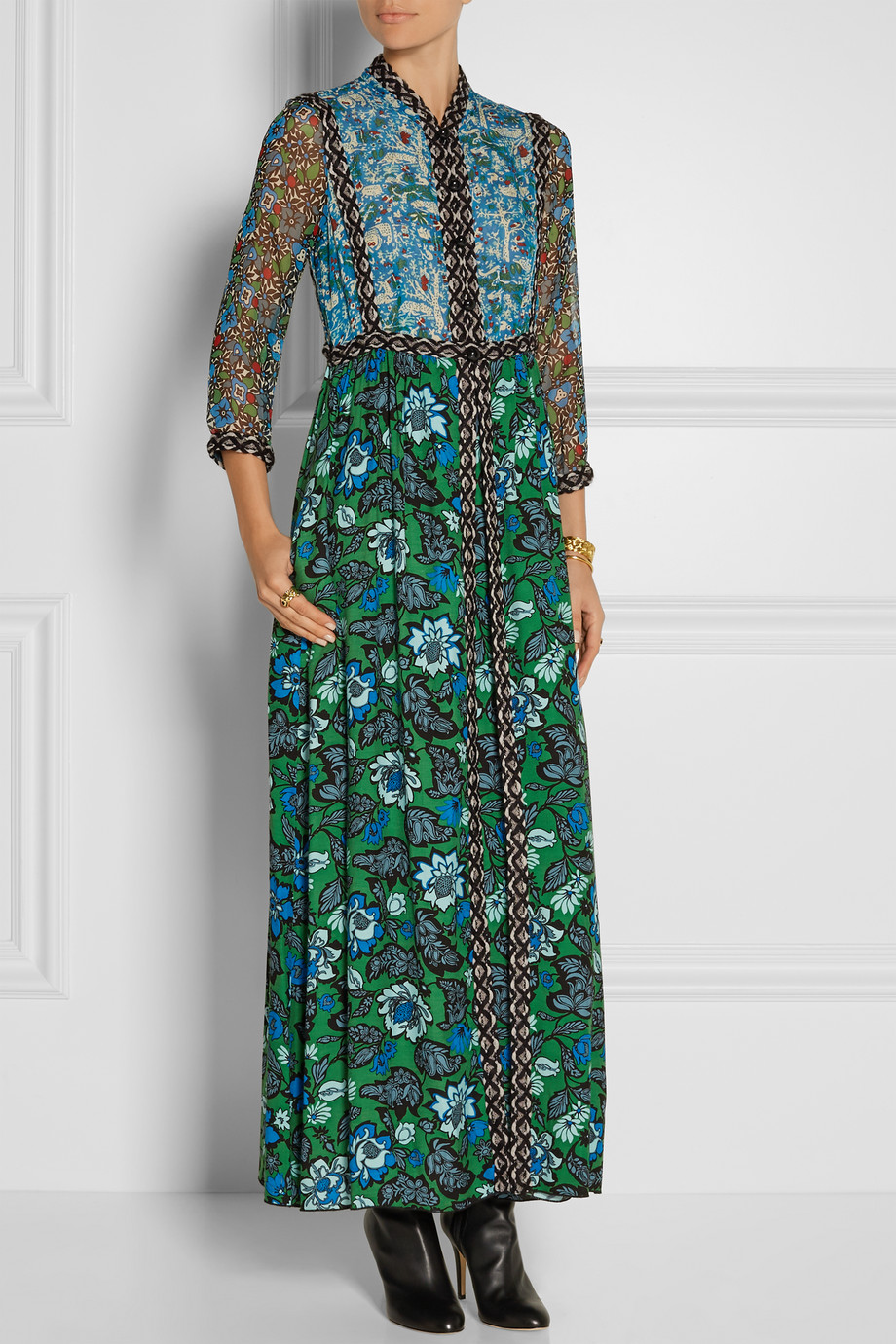 Anna Sui Printed Crinkled Silk-Chiffon and Twill Maxi Dress, Green/Blue, Women's, Size: 4