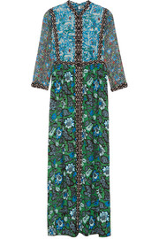 Printed crinkled silk-chiffon and twill maxi dress