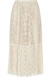 Silk georgette-paneled lace skirt