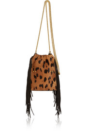 Gary small fringed calf hair shoulder bag