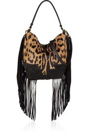 Jérôme Dreyfuss Mario fringed leopard-print calf hair and suede shoulder bag