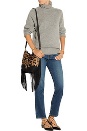 Mario fringed leopard-print calf hair and suede shoulder bag
