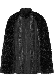 Embroidered faux leather-trimmed faux fur cape