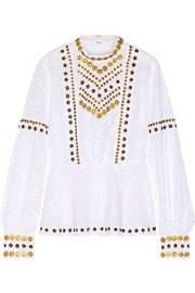 Embellished broderie anglaise cotton top
