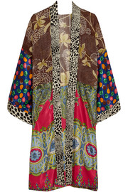 Printed satin and georgette cape