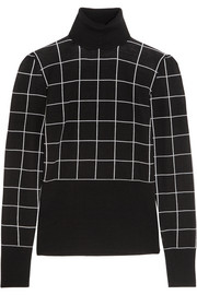 Checked wool turtleneck sweater