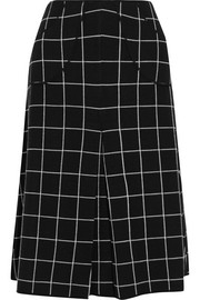 Checked wool midi skirt