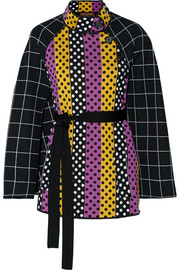 Belted intarsia wool cape
