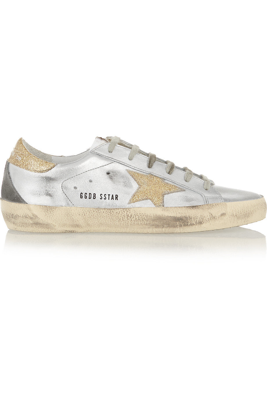 Super Star Distressed Metallic Leather Sneakers, Silver, Women's US Size: 4.5, Size: 35