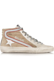 Slide distressed leather and suede high-top sneakers