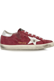 Super Star distressed leather-paneled suede sneakers