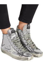 Checked metallic leather high-top sneakers