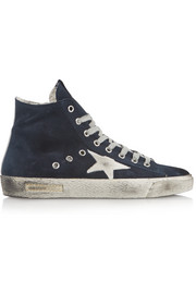 Francy distressed suede high-top sneakers