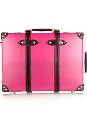 Candy leather-trimmed fiberboard travel trolley