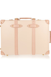 Safari leather-trimmed fiberboard travel trolley