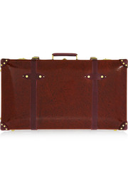 Orient leather-trimmed lacquered fiberboard suitcase