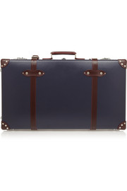 Centenary leather-trimmed fiberboard travel trolley