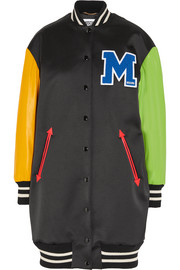 Moschino Appliquéd wool-blend satin and leather bomber jacket