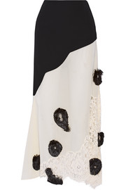 Embellished cady, cotton-voile and lace maxi skirt