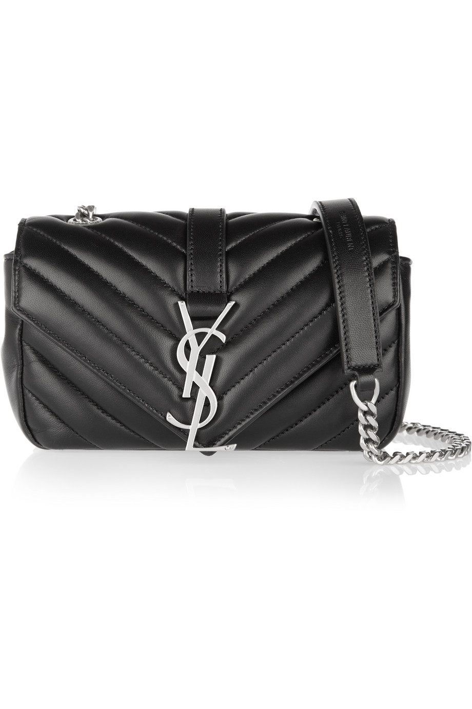 Saint Laurent Baby Chain Monogramme Quilted Leather Shoulder Bag, Black, Women's, Size: One Size