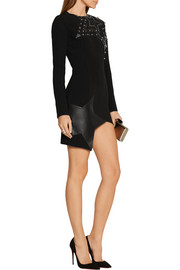 Asymmetric leather and tulle-paneled stretch-crepe mini dress