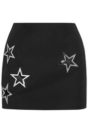 Embellished wool-twill mini skirt