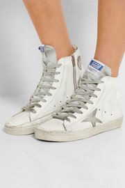 Francy distressed suede-paneled leather high-top sneakers