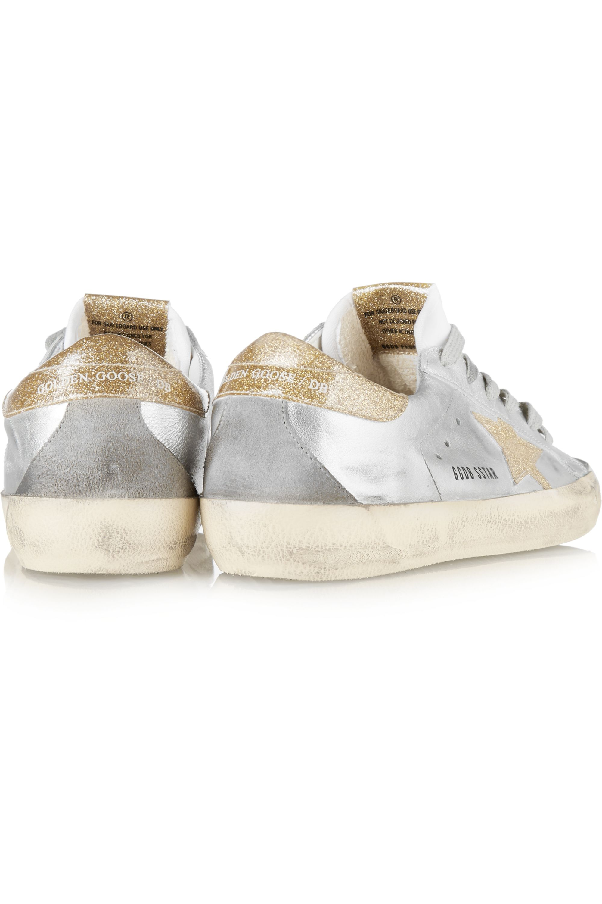Golden Goose Super Star metallic distressed glittered leather sneakers