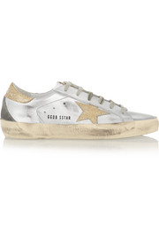 Super Star metallic distressed glittered leather sneakers