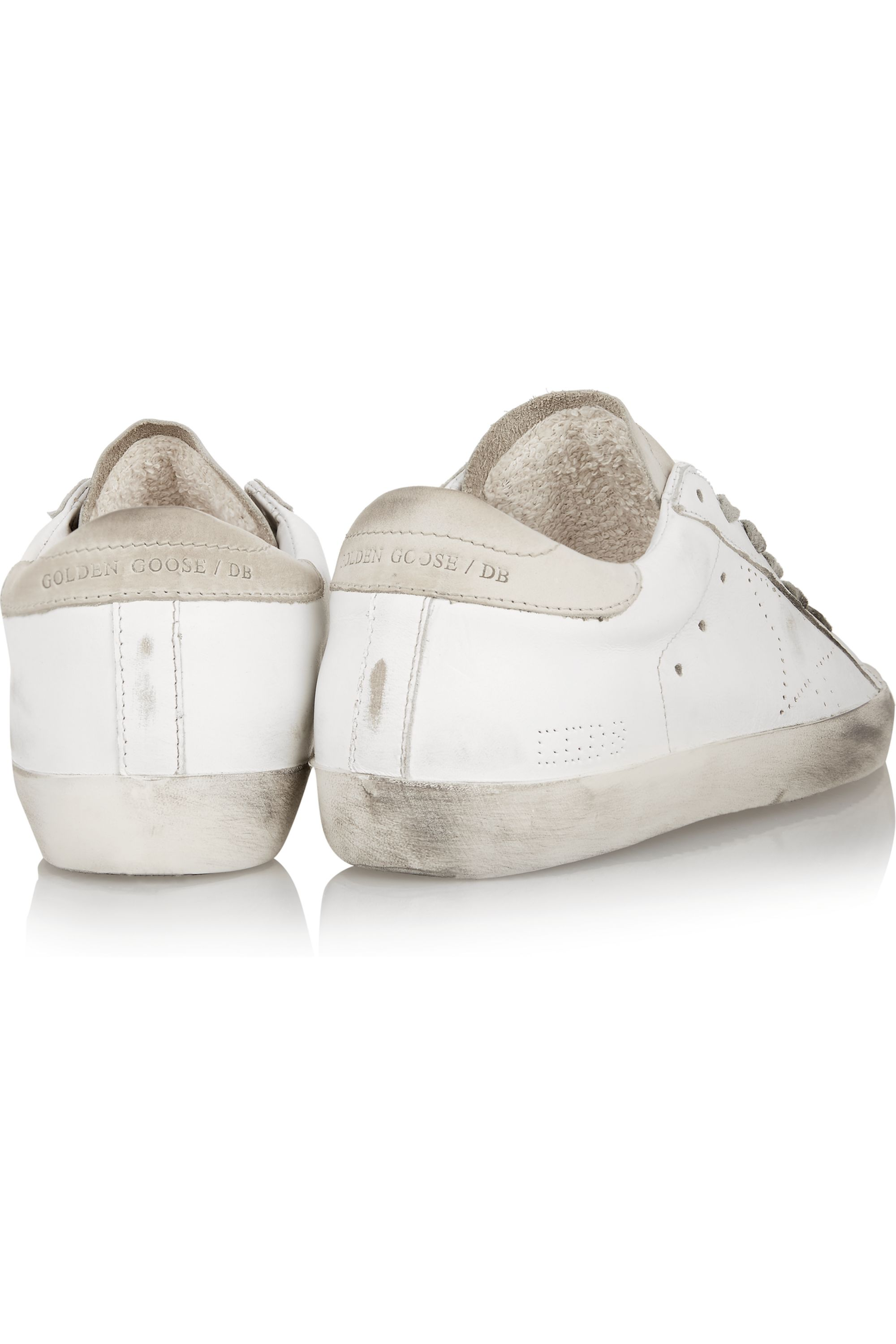 Golden Goose Super Star distressed suede-paneled leather sneakers