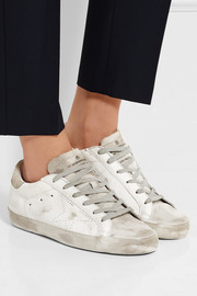 Superstar distressed suede-paneled leather sneakers
