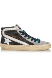 Slide distressed nubuck and suede high-top sneakers