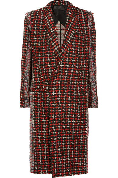 Haider Ackermann. Paneled wool-blend tweed coat