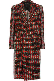 Paneled wool-blend tweed coat