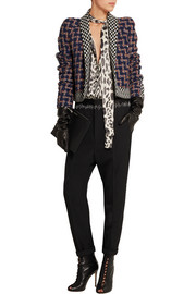 Cropped wool-blend bouclé-tweed and jacquard jacket