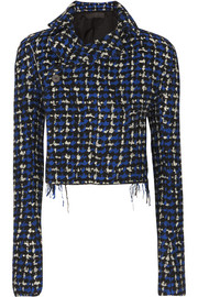 Cropped wool-blend bouclé-tweed blazer