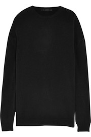 Oversized silk-paneled wool and cashmere-blend sweater