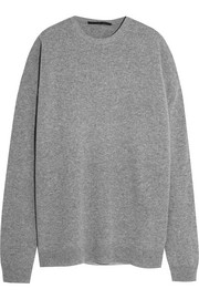 Silk-paneled wool and cashmere-blend sweater