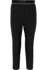 Satin-trimmed wool tapered pants