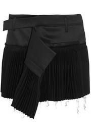 Pleated wool-blend and twill mini skirt