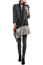 Stretch-wool and leopard-print silk-blend wrap mini skirt