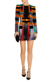 Color-block beaded velvet mini dress