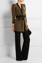 Striped metallic stretch-knit jacket