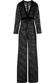 Velvet-trimmed stretch-cotton lace jumpsuit