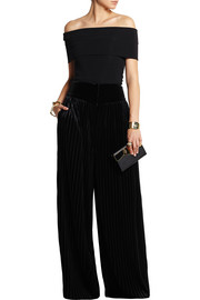 Pleated velvet wide-leg pants