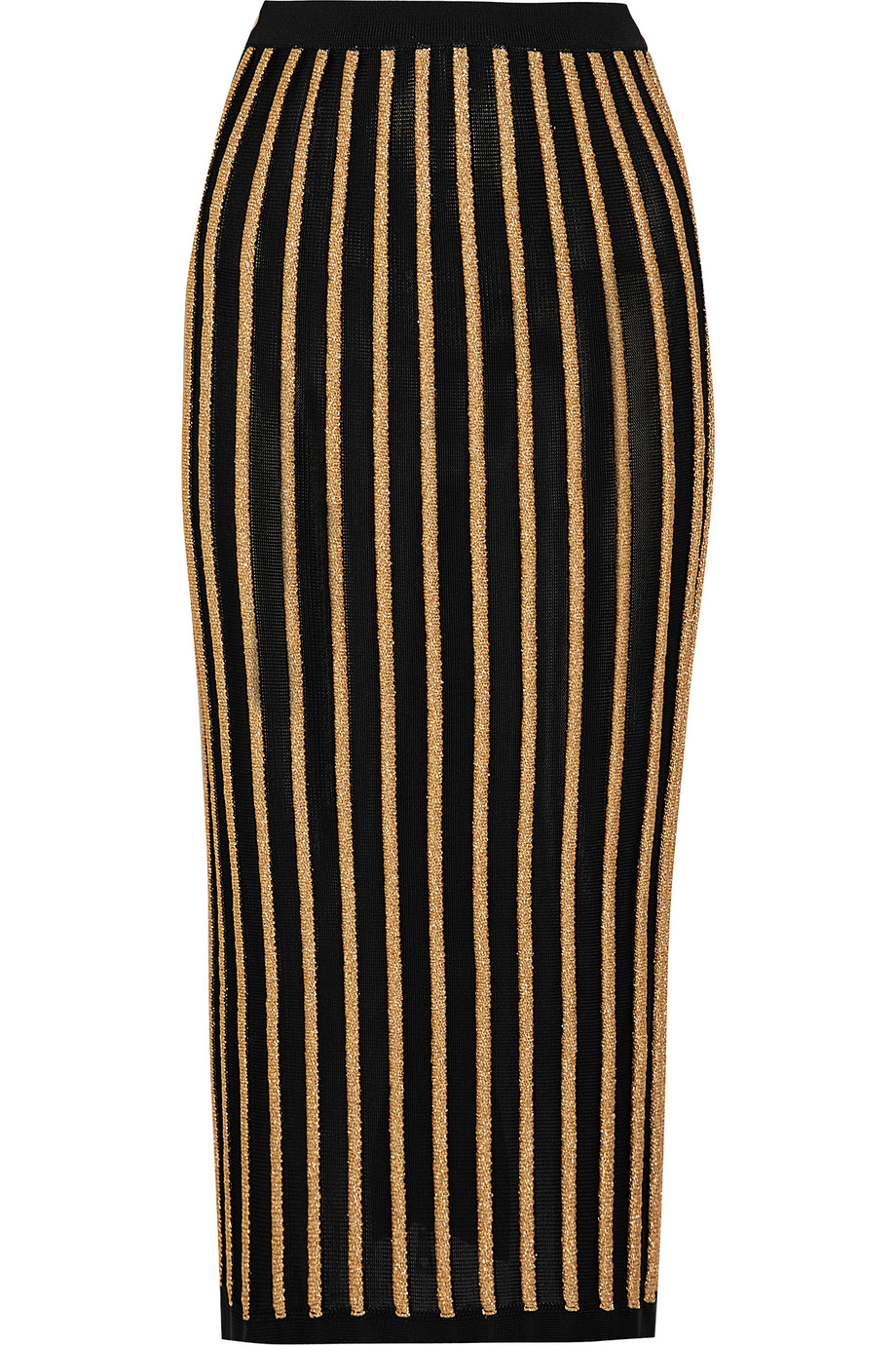 Balmain Striped Stretch-Knit Skirt, Black/Gold, Women's, Size: 36