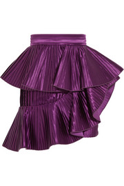 Ruffled plissé-satin mini skirt