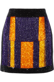 Color-block embellished velvet mini skirt