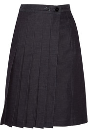 Victoria Beckham Denim Pleated denim wrap skirt