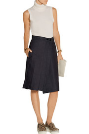 Pleated denim wrap skirt